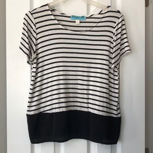 Francesca's black and white striped shirt